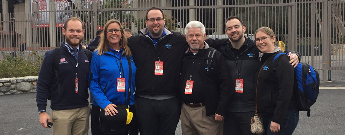 The Music Travel Team at the Rose Bowl. L to R Andrew Moran, Nancy Reichmann, Michael Gray, Chuck Kubly, Chris Forsythe and Vice Wielosinski.