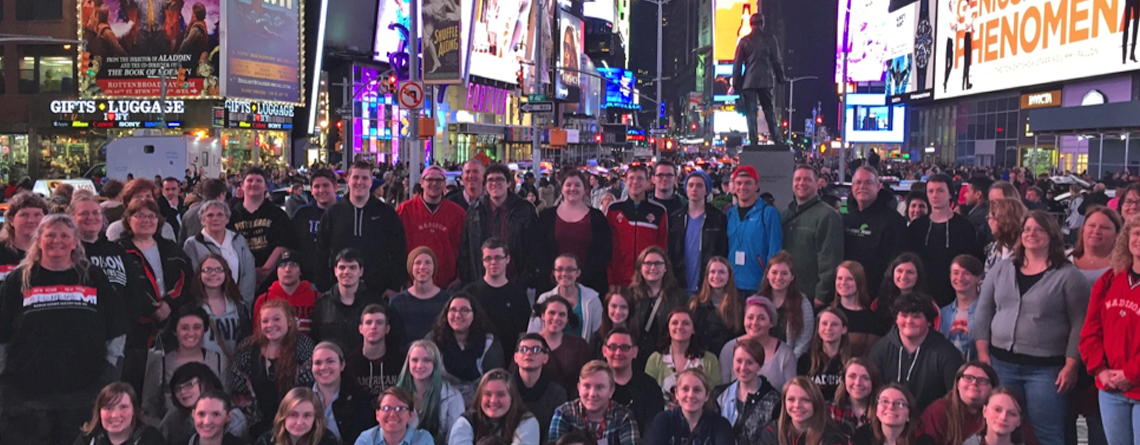 Madison High School Band (Ohio) in Times Square on Nancy's first-ever NYC trip.