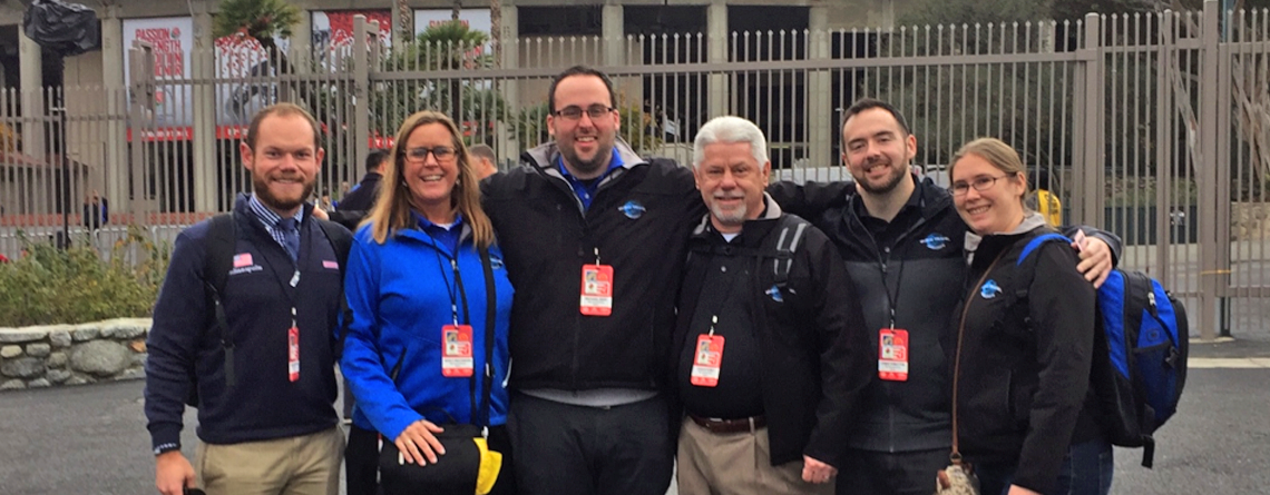 Nancy with Educational Destination team (Andrew Moran, Michael Gray, Chuck Kubly, Chris Forsythe and Vicky Wielosinski) during Tournament of Roses trip.