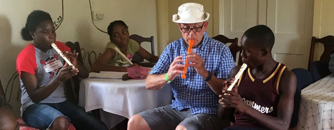 Teaching Jamaican kids how to play recorder at an orphanage near Montego Bay on a church mission trip in 2016.